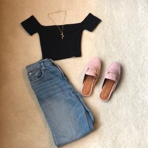 Cropped Missguided bardot top